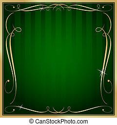 Verdes y dorados cuadrados a rayas de vector de anchas