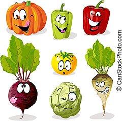 Verdura de dibujos animados con caras graciosas, caracter de ilustración vectorial