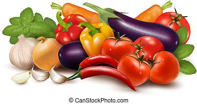 Verdura fresca con hojas. Comida saludable. Ilustración de vectores