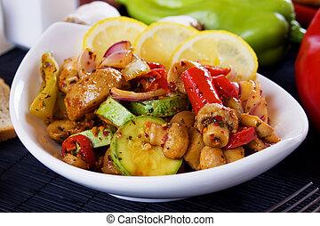verduras asadas parrilla, tazón, blanco