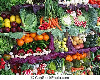 Verduras coloridas y frutas