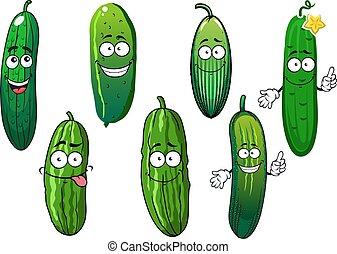 Verduras de pepino orgánicos verdes maduras