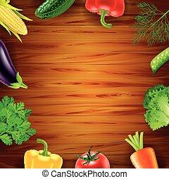 Verduras en el fondo de madera de primera vista