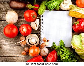 verduras frescas, dieta, fondo., abierto, cuaderno