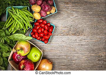 verduras frescas, mercado, fruits