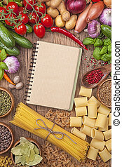 Verduras frescas y recetas en blanco