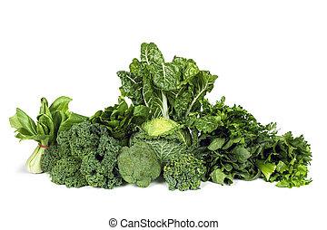 verduras frondosas, verde, aislado