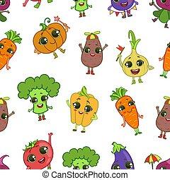 Verduras graciosas coloridas caracterizan patrones sin costura, ilustración saludable de vectores de comida