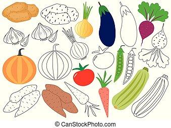 Verduras. Libro de color. Juego educativo para niños. Ilustración de vectores.