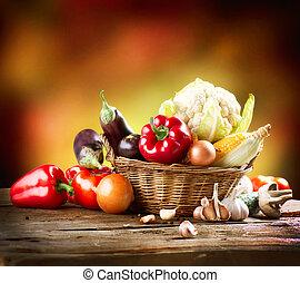 Verduras orgánicas saludables siguen diseñando arte