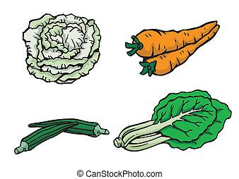 Verduras variadas en ilustración vectora
