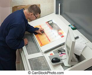 verificar, impresión, impresora, corra