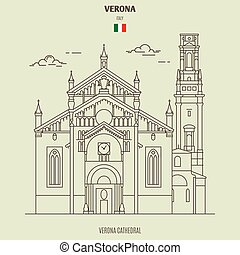 verona, catedral, señal, italy., icono
