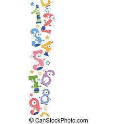 vertical, patrón, seamless, números, plano de fondo, diversión, frontera