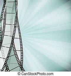 vertical, plano de fondo, filmstrip, border., retro