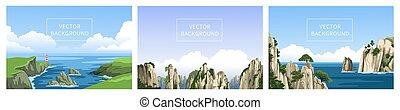 vertical, vista marina, realista, costa, panorámico, vector, rocoso, chino, faro, conjunto, backgrounds., montañas, landscapes., ocean., hand-drawn