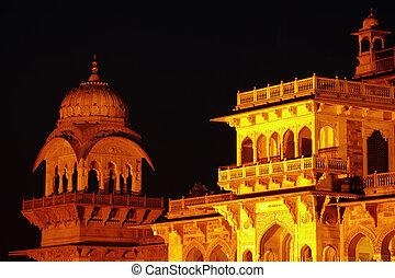 vestíbulo, india, jaipur, albert, museo, central, noche