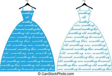 Vestido de boda azul, vector