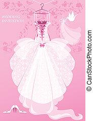 Vestido de bodas, zapatos y velo de novia en el fondo rosa. Tarjeta de invitación de boda.