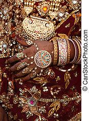 vestido de la boda, jaisalmer, rajasthan, detalles, india, estado, tradional, disfraz