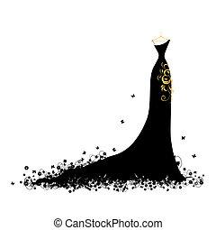 Vestido de noche negro en perchas