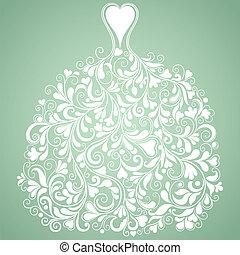 Vestido de novia blanco, silueta vectorial vintage