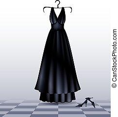 Vestido negro y zapatos
