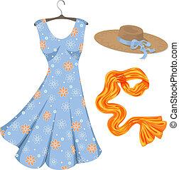 Vestido romántico de verano y accesorios.
