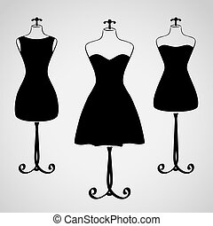 vestido, silueta, hembra, clásico