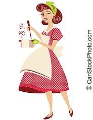 vestido, vector, cocina, vendimia, ama de casa, room., estilo, ella, olla, aislado, rojo, sopa, tenencia, alfiler, blanco, ilustración, cocina, arriba, retro