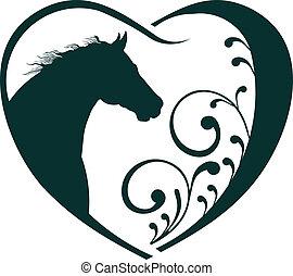 veterinario, corazón, caballo, love.