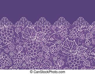 Viñas de uvas de encaje horizontalmente en la frontera de fondo