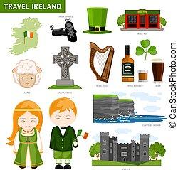 Viajar a Irlanda. Los irlandeses. Una colección de iconos planos que guiar.