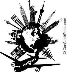 Viajar alrededor del mundo por ilustración de aviones