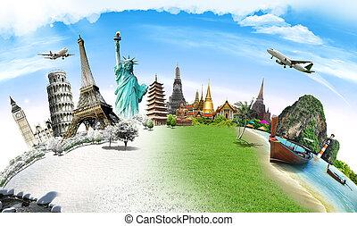 Viajar el concepto del monumento mundial