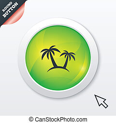 viaje, árbol, símbolo., señal, palma, icon., viaje