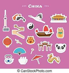 Viaje a China, vector de iconos listos