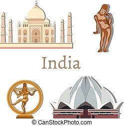 Viaje a la India con vector de puntos de referencia.
