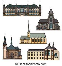 viaje, arquitectura, luxemburgo, señales, edificio