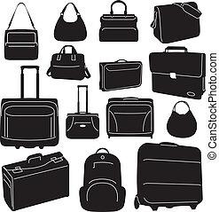viaje, bolsas, colección, maletas