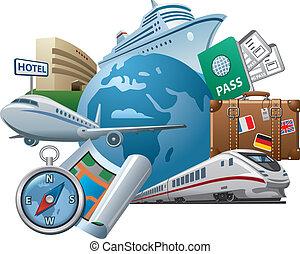 viaje, concepto, icono