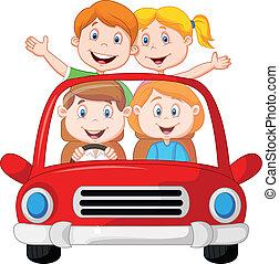 viaje de camino, familia , caricatura