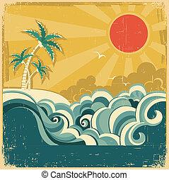 Viaje de la naturaleza mares tropicales de fondo con palmeras. póster de vector para diseño