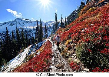 Viaje de vacaciones en montañas cascada.
