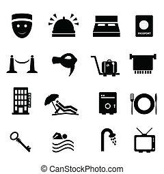 viaje, hotel, conjunto, icono