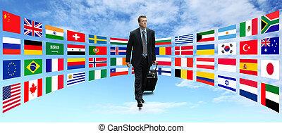 viaje, internacional, hombre de negocios