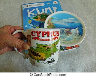 viaje, isla, guide., jarra, chipre, imagen, recuerdo