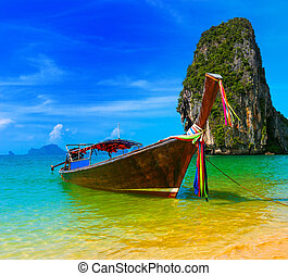 viaje, naturaleza, tradicional, centro vacacional de playa, barco, tailandia, paraíso, hermoso, de madera, isla, cielo, verano, tropical, azul, paisaje, paisaje, agua