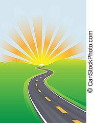 Viaje por carretera brillante mañana por la mañana