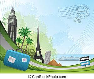 viaje, postal, tarjeta, plano de fondo